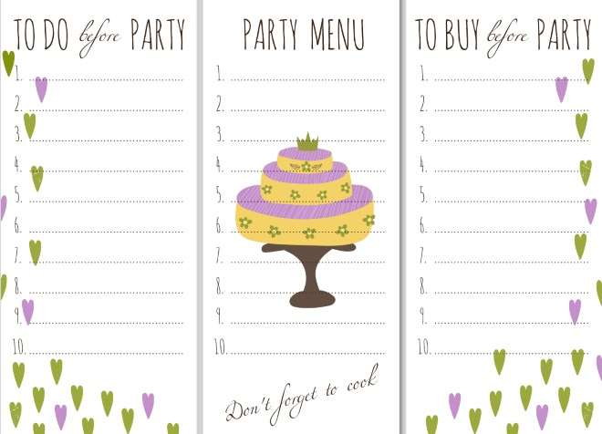 Birthday To Do List Checklist Templete