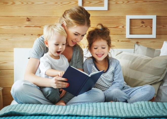 Mother Reading Bedtime Stories for Kids